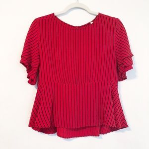 Zara Red Black Stripe Peplum Ruffle Tiered Top L
